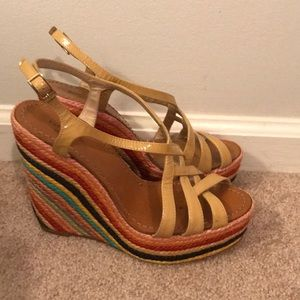 Kate Spade Lindsay Rainbow Wedges with straps